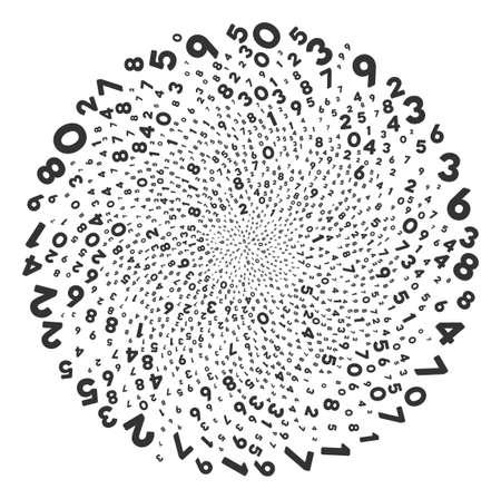 Eksplozja zakręconych cyfr. Obiekt Whirlpool zaprojektowany z rozproszonych cyfr symboli. Styl ilustracji wektorowych to płaskie kultowe symbole.
