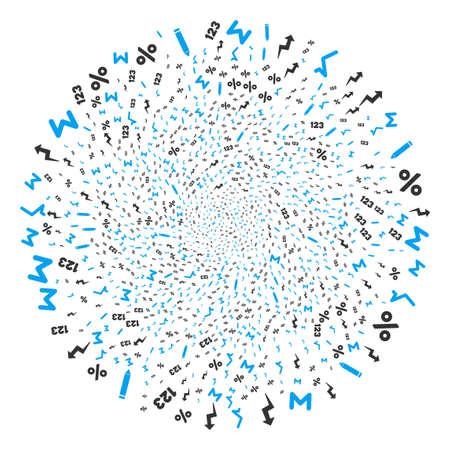 Math Symbols spiral explosion. Element cluster organized from randomized math symbols items. Vector illustration style is flat iconic symbols.