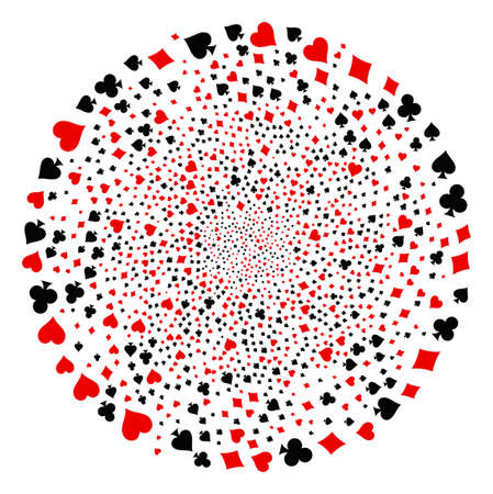 Playing Card Suits spiral motion. Object burst designed from random playing card suits items. Vector illustration style is flat iconic symbols.