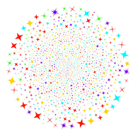 Shine Stars centrifugal spheric cluster. Object cluster organized from scatter shine stars symbols. Vector illustration style is flat iconic symbols.