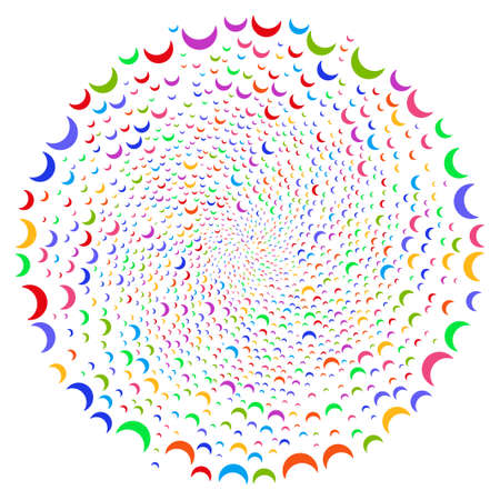 Bright Moon curl motion. Psychedelic cycle designed with scatter moon objects. Vector illustration style is flat iconic symbols.