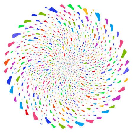 Huella humana multicolor en espiral explotando globula. Explosión psicodélica diseñada por elementos aleatorios de huella humana. El estilo de ilustración vectorial es símbolos icónicos planos.