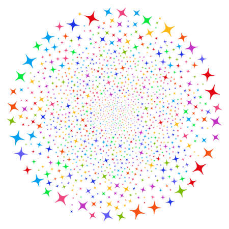 Bright Space Star curl circle. Psychedelic centrifugal explosion combined by randomized space star items. Vector illustration style is flat iconic symbols.
