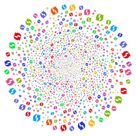 Multi Colored Refresh centrifugal sphere. Hypnotic centrifugal explosion designed by randomized refresh symbols. Vector illustration style is flat iconic symbols. Illustration