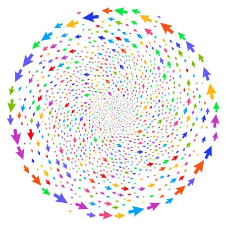 Flecha cursor multicolor movimiento centrífugo. Clúster psicodélico combinado con objetos de flecha de cursor de dispersión. El estilo de ilustración vectorial es símbolos icónicos planos.