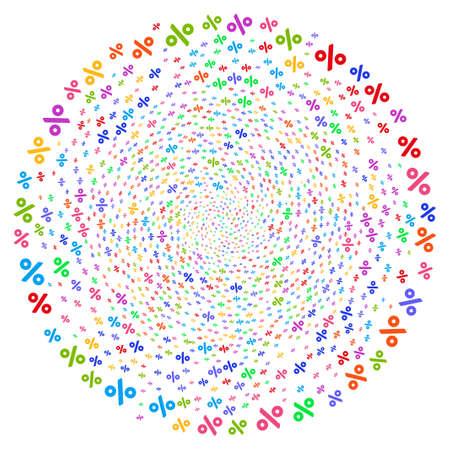 Cúmulo esférico de remolino por ciento brillante. Impresionante giro organizado con elementos porcentuales aleatorios. El estilo de ilustración vectorial es símbolos icónicos planos.
