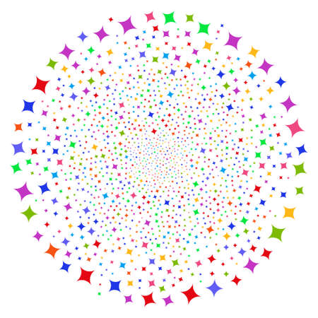 Multi colored sparkle star spiral round cluster. Psychedelic cyclone created with random sparcle star objects. Vector illustration style is flat iconic symbols.