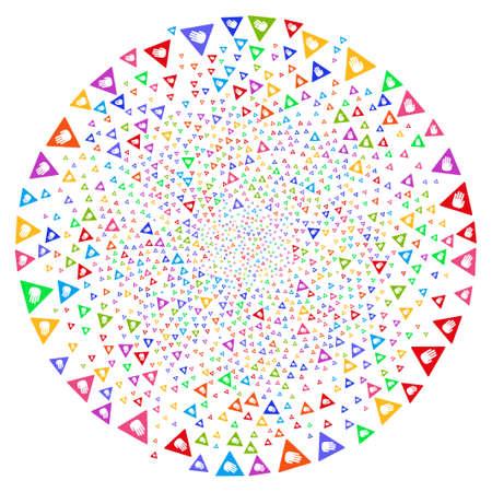 Precaución atractivo giro centrífugo. Curl hipnótico creado por objetos de precaución dispersos. El estilo de ilustración vectorial es símbolos icónicos planos.