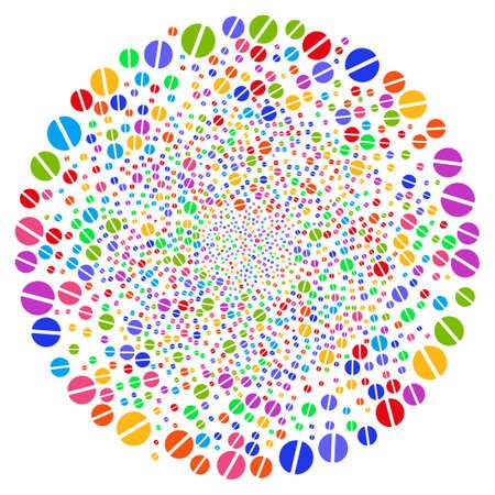 Bright pharmacy tablet swirl exploding globular. Impressive spiral organized with scatter pharmacy tablet items. Vector illustration style is flat iconic symbols. Illustration