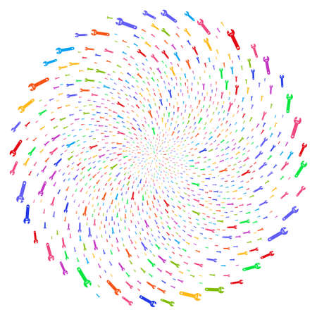 Multi Colored Spanner centrifugal spin. Impressive cycle done from randomized spanner elements. Vector illustration style is flat iconic symbols.