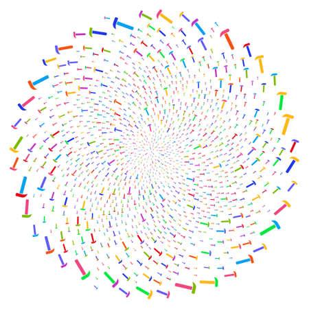 Multicolored Hammer swirl source. Hypnotic centrifugal explosion organized with randomized hammer symbols. Vector illustration style is flat iconic symbols.