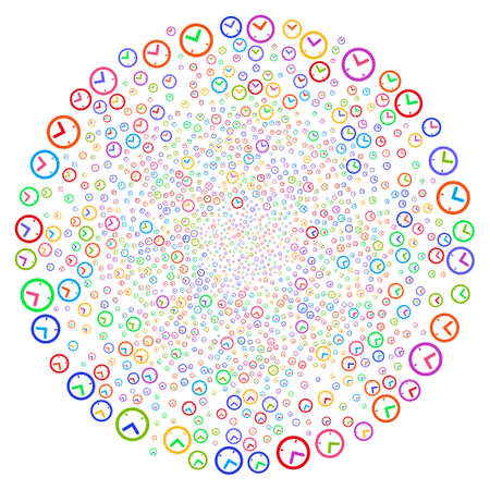 Multi Colored Time curl cluster. Hypnotic centrifugal explosion combined with scattered time items. Vector illustration style is flat iconic symbols.