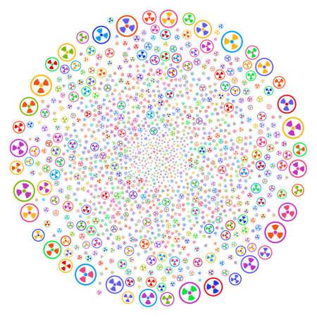 Veelkleurige radioactieve spiraalbron. Psychedelische cyclus gecreëerd door willekeurige radioactieve objecten. Vector illustratie stijl is plat iconische symbolen.
