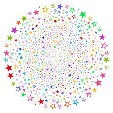 Psychedelic Decoration Stars cycle explosion. Impressive cycle done with randomized decoration stars symbols. Vector illustration style is flat iconic symbols.