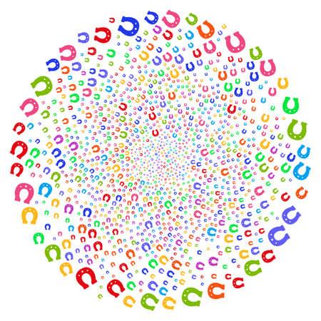 Multicolored Horseshoe swirl source. Hypnotic cyclone created from scatter horseshoe symbols. Vector illustration style is flat iconic symbols.