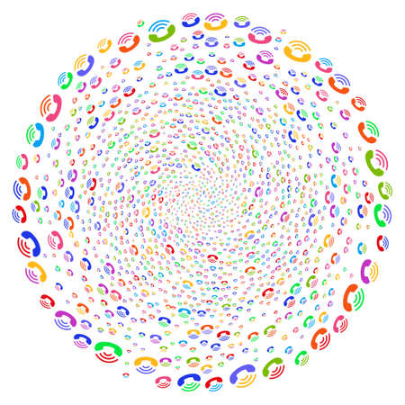 Bright Call Ring spiral exploding globula. Hypnotic curl combined from scattered call ring items. Vector illustration style is flat iconic symbols.