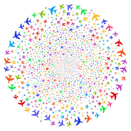 Multicolored Jet Plane twirl spherical cluster. Impressive twist created with random jet plane objects. Illustration