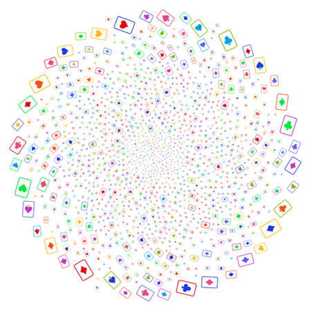 Multicolored Playing Cards swirl round cluster. Hypnotic whirlpool organized by scatter playing cards objects