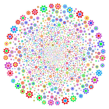 Multicolored Cogwheel centrifugal cluster. Psychedelic cluster designed by scattered cogwheel symbols.