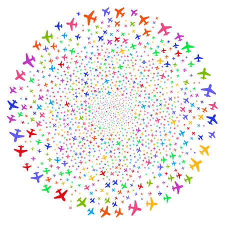 Bright Airplane centrifugal spheric cluster. Hypnotic whirlpool created by random airplane items. Raster illustration style is flat iconic symbols. Stock Photo