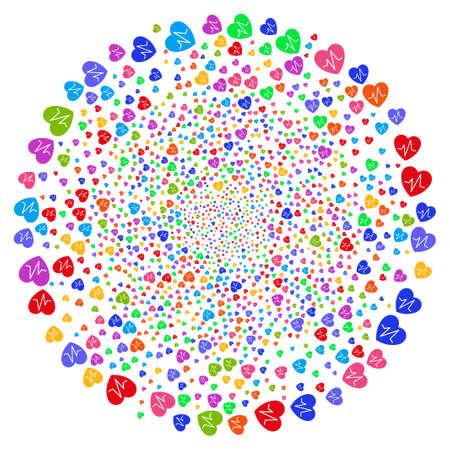 Multicolored Cardiology centrifugal stream. Hypnotic twist organized with random cardiology objects. Raster illustration style is flat iconic symbols.