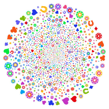 Multi Colored Casino centrifugal sphere. Hypnotic cluster done with scatter casino items. Raster illustration style is flat iconic symbols.