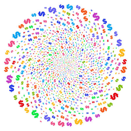 Psychedelic Dollar spiral spin. Impressive cluster combined by randomized dollar objects. Raster illustration style is flat iconic symbols.