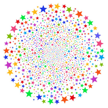 Multicolored Fireworks Star swirl motion. Psychedelic whirlpool designed from scattered fireworks star elements. Raster illustration style is flat iconic symbols.