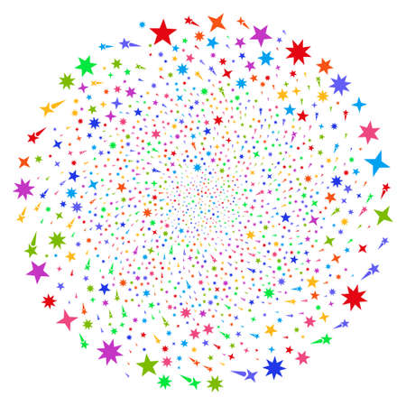 Bright Confetti Stars spiral fireworks. Hypnotic spiral designed with randomized confetti stars symbols. Raster illustration style is flat iconic symbols.