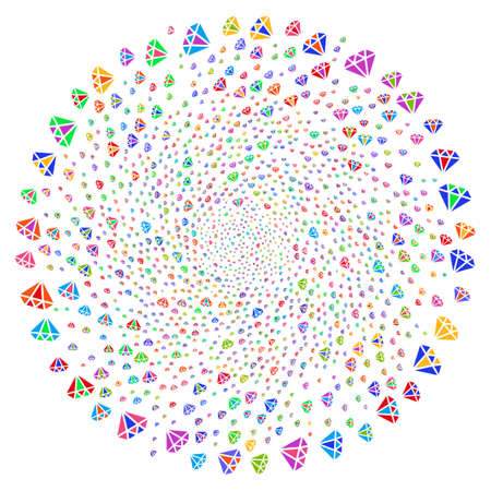 Multicolored Diamond curl circle. Impressive twirl created from scattered diamond symbols. Raster illustration style is flat iconic symbols.