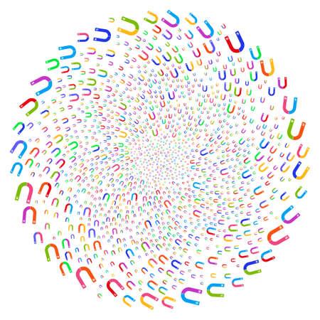 Bright Horseshoe Magnet twirl circle. Hypnotic spiral done by random horseshoe magnet symbols. Raster illustration style is flat iconic symbols.