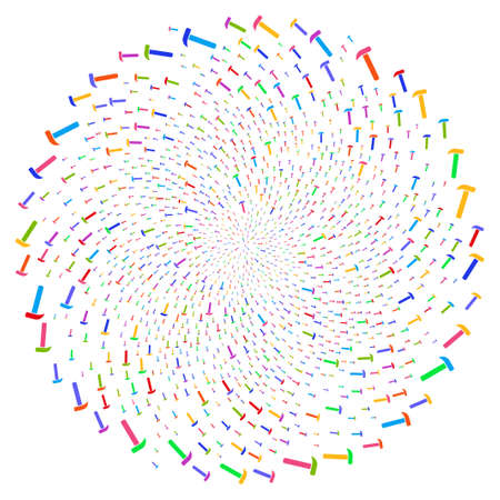 Attractive Hammer spiral exploding globula. Impressive twist organized with randomized hammer elements. Raster illustration style is flat iconic symbols.