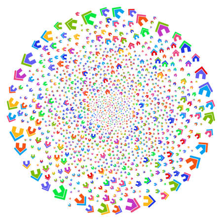 Multicolored Home swirl circle. Impressive spiral designed with scatter home objects. Raster illustration style is flat iconic symbols.