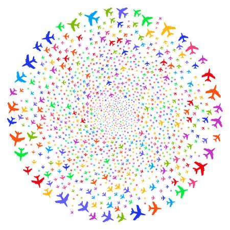 Multicolored Jet Plane curl stream. Hypnotic twirl designed from scattered jet plane symbols. Raster illustration style is flat iconic symbols.