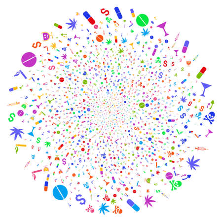 Multi Colored Narcotic Drugs cycle exploding globula. Suggestive spiral created with random narcotic drugs symbols. Raster illustration style is flat iconic symbols.