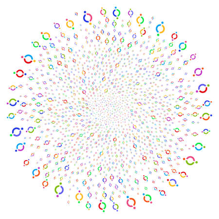 Attractive Node Link cycle circle. Psychedelic cyclone organized by random node link elements. Raster illustration style is flat iconic symbols. Stock Photo