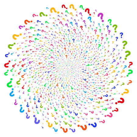 Attractive Question spiral rotation. Suggestive burst designed from scatter question symbols. Raster illustration style is flat iconic symbols.
