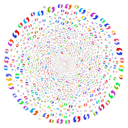 Multi Colored Refresh twirl sphere. Hypnotic curl created from scattered refresh items. Raster illustration style is flat iconic symbols. Stock Photo