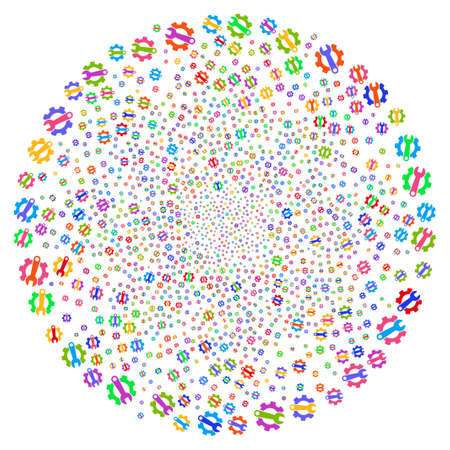Multicolored Service Tools spiral globula. Impressive burst done from random service tools items. Raster illustration style is flat iconic symbols. Reklamní fotografie