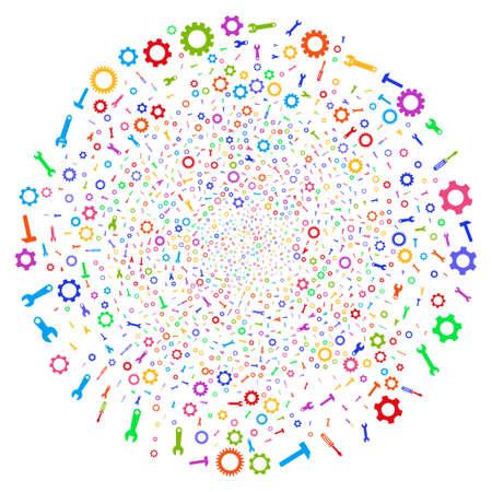Multi Colored Setup Tools twirl globula. Impressive cluster combined from scattered setup tools symbols. Raster illustration style is flat iconic symbols.