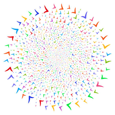 Attractive Yes spiral twist. Impressive cycle organized by randomized yes items. Raster illustration style is flat iconic symbols. Stock Photo