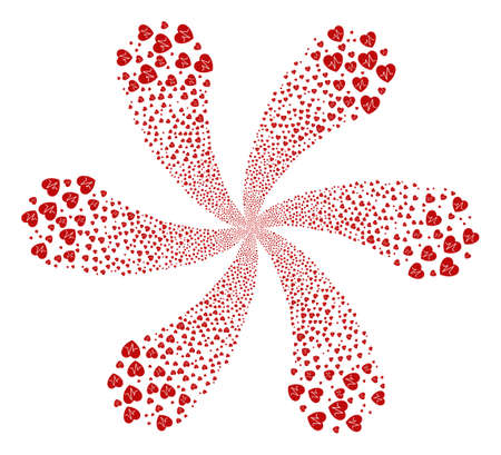 Cardiology explosion abstract flower. Element curl organized from scatter cardiology items. Vector illustration style is flat iconic symbols. Illustration