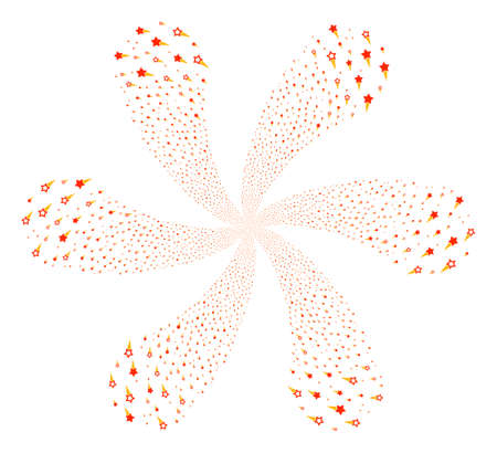 Confetti Stars twirl spin. Object flower combined from scatter confetti stars items. Vector illustration style is flat iconic symbols.