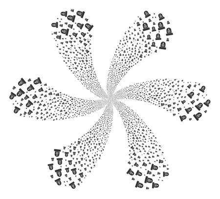 Grave explosion abstract flower. Object burst done from scattered grave items. Vector illustration style is flat iconic symbols.