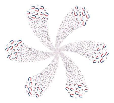 Horseshoe Magnet swirl motion. Object whirlpool organized from randomized horseshoe magnet symbols. Vector illustration style is flat iconic symbols.