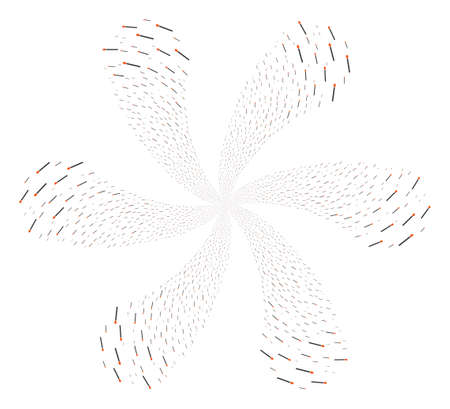 Match explosion flower with six petals. Element centrifugal explosion organized from random match symbols. Vector illustration style is flat iconic symbols.