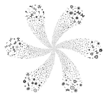 Microbes exploding flower with six petals. Object twist designed from scatter microbes items. Vector illustration style is flat iconic symbols.