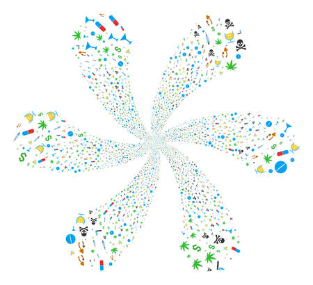 Narcotic Drugs twirl flower with six petals. Object spiral created from scatter narcotic drugs symbols. Vector illustration style is flat iconic symbols. Illustration