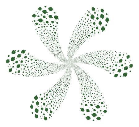 Opium Poppy swirl twist. Element centrifugal explosion organized from random opium poppy items. Vector illustration style is flat iconic symbols.