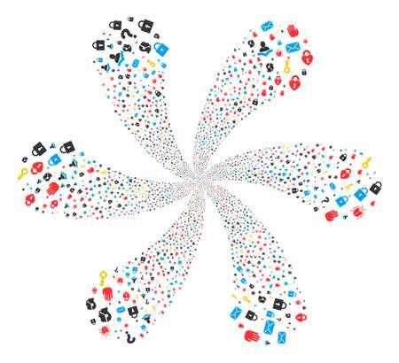 Secrecy Symbols rotation burst. Object spiral created from scattered secrecy symbols symbols. Vector illustration style is flat iconic symbols. Illustration